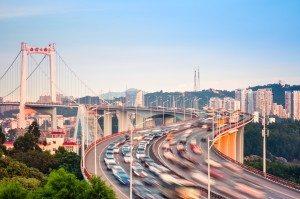 graceful suspension bridge in sunset
