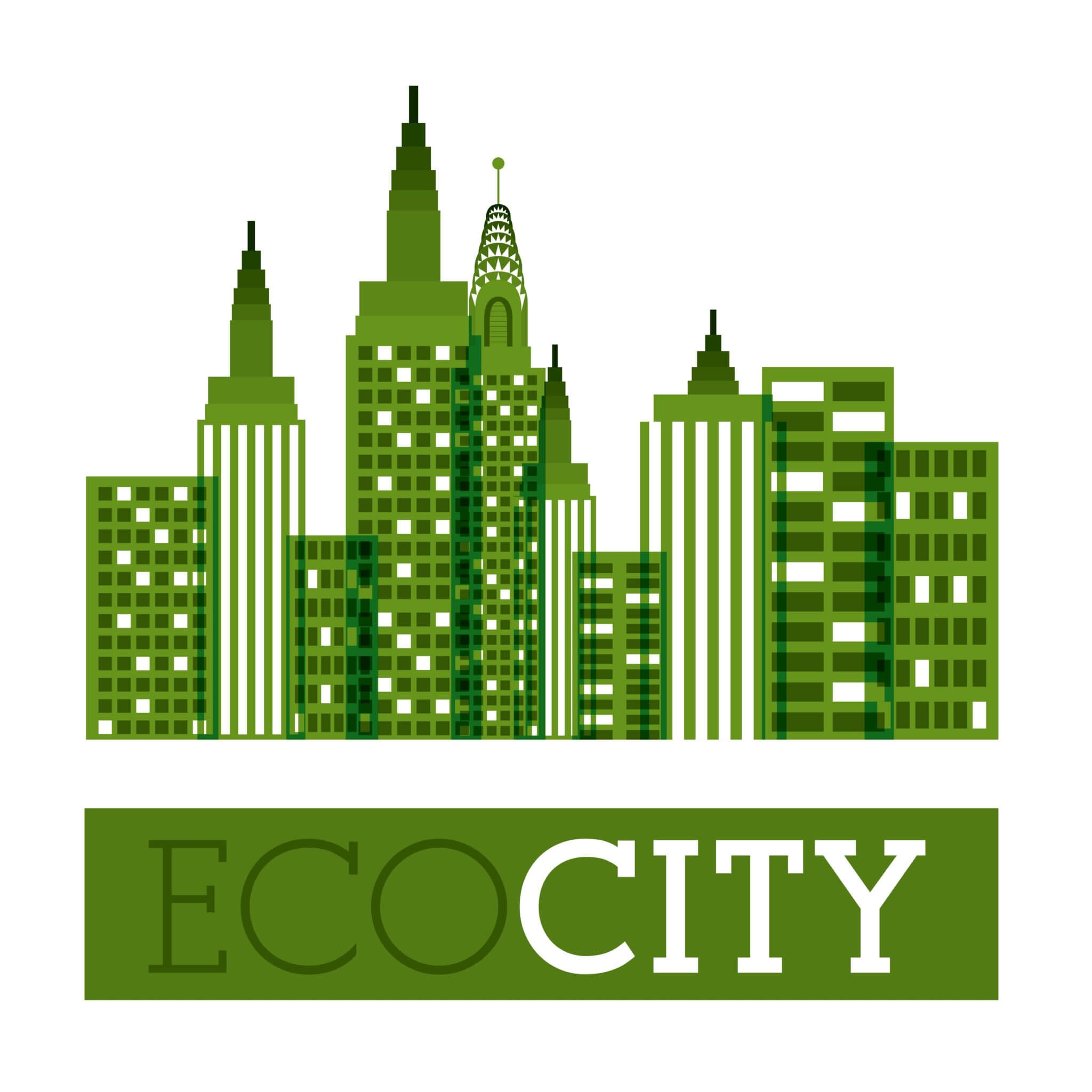 Eco City design over white background, vector illustration